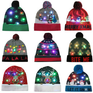 Unisex-Colorful-Merry-Christmas-LED-Light-up-Knit-Hat-Beanie-Hairball-Warm-Cap