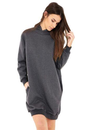 Ladie/'s Oversized Loose Baggy Hooded LONGLINE Sweatshirt Tunic Jumper Dress Top