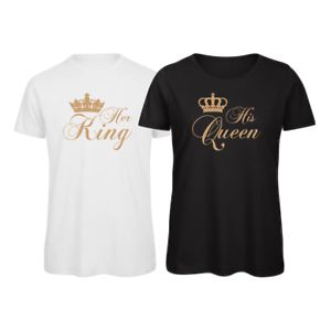 cc5c2a0be0e Image is loading His-Queen-Her-King-Matching-Couples-T-Shirt-