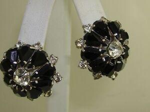 ELEGANT VINTAGE BLACK & CLEAR FOILED RHINESTONE EARRINGS!