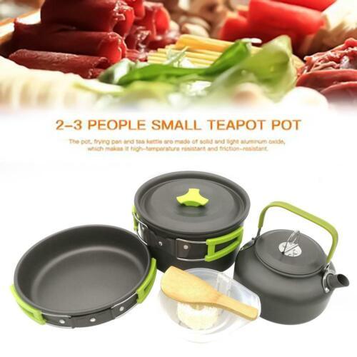 Camping Hiking Picnic Cookware Aluminium Frying Pan Pot Tea Kettle Usefull Set