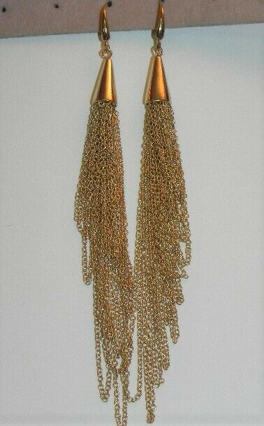 Lovely Liquid Gold Tone Multi Strand Dangling Pierced Earrings Shoulder Duster