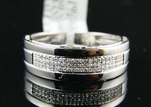 Mens 8 Mm White Gold Finish Wedding Band Diamond Ring 1/4 Ct