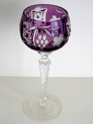 AJKA MARSALA AMETHYST CASED CUT TO CLEAR CRYSTAL WINE GOBLET