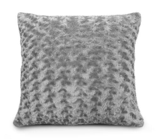Velosso Soft Chenille Posy Cushion Cover Home 43cm x 43cm Latte Silver Brown