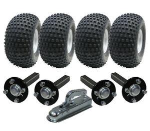 Parnells 2 pair Hub /& stub axles for quad ATV trailer 4 stud 100mm PCD 35x35mm high speed