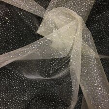 "Sparkle Glitter Tulle Fabric Wedding Decoration Craft Event 60"" - Off White"