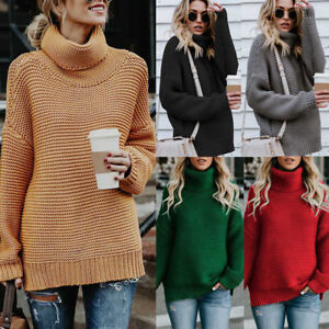 Womens-Ladies-Turtleneck-Winter-Tops-Chunky-Knitted-Oversized-Sweater-Jumper-NEW
