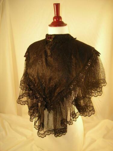 Victorian Wraps, Capes, Shawl, Capelets    ELSIE MASSEY Victorian Black Netting Lace CollarSteampunk Dickens SASS $67.95 AT vintagedancer.com