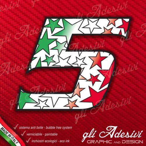 Adesivo Stickers NUMERO 5 moto auto cross gara STAR Verde Bianco Rosso Tricolore