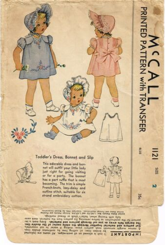 McCall 1121 Pattern Baby Dress Frock BONNET Slip Embroidered GIRL TODDLER sz ~2~