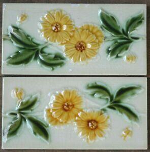 Alfred Meakin Antique Art Nouveau Majolica 2 Border Tiles C1900 Ebay