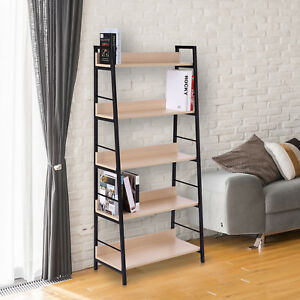 5-Tier-Wood-Bookcase-Book-Display-Shelves-Storage-Organizer-Home-Furniture