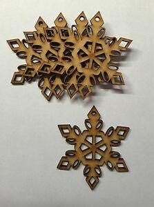 Belle Bois Mdf Snowflake Shape Crafts Embelishments Noël Arbre De Noel Décoration Tag-afficher Le Titre D'origine