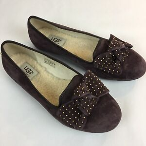 e277bd8a3be Details about UGG Women's Size 7.5 Alloway Studded Bow Flat Slip Smoking  Driving Suede