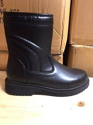 Brand New Men's Winter Boots Black Leather Fur Lined  Side Zipper Size 7-13