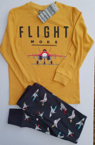 BNWT Boys Sz 8 Under Cover Crew Planes Mustard Long Jersey Knit Winter Pyjamas