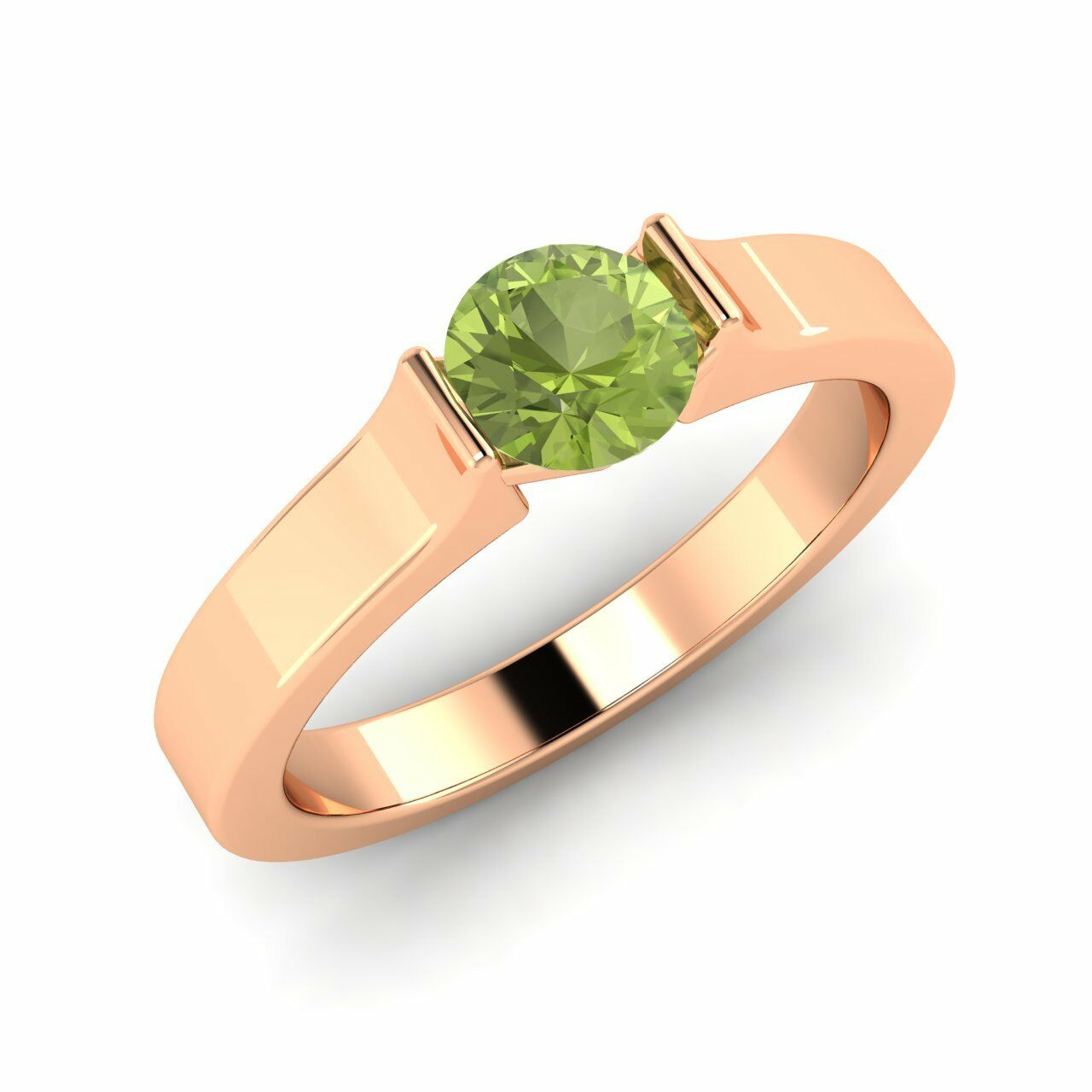Certified 0.44 Cts Natural Peridot Solitaire Engagement Ring In 14K pink gold