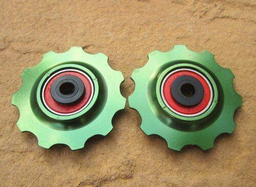 MT ZOOM GREEN Ceramic Bearing Alloy Jockey Wheels 11T PAIR fits shimano sram