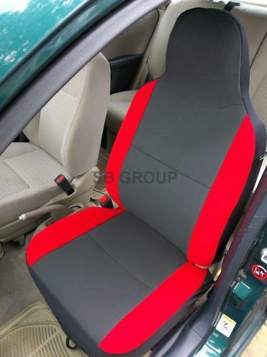 TO FIT A TOYOTA AYGO, CAR SEAT COVERS,CHARCOAL + RED TRIM
