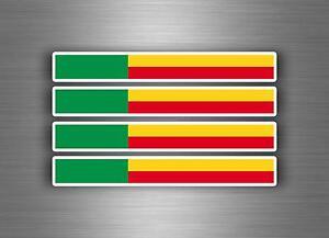 4x Aufkleber Auto Motorrad stripes Flagge Tuning Schwimmflügel Auto Benin