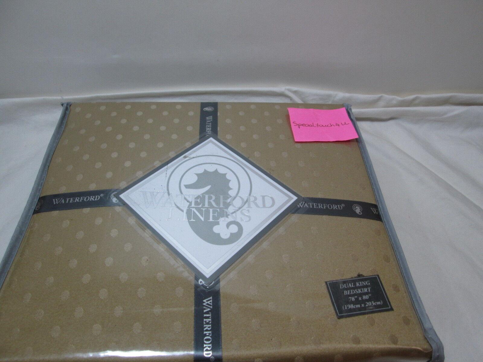 Waterford Linens OLYMPIA Dual King Bedskirt 78 x80   18  Drop  gold NIP