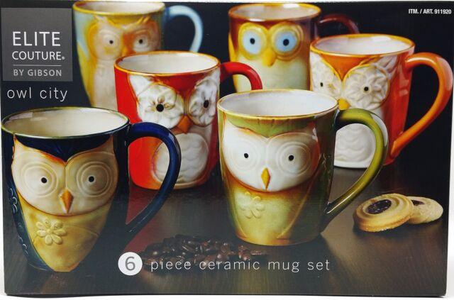 Owl Ceramic Mug Set of 6 Coffee Tea 17oz Artisan Handcrafted Glazed New