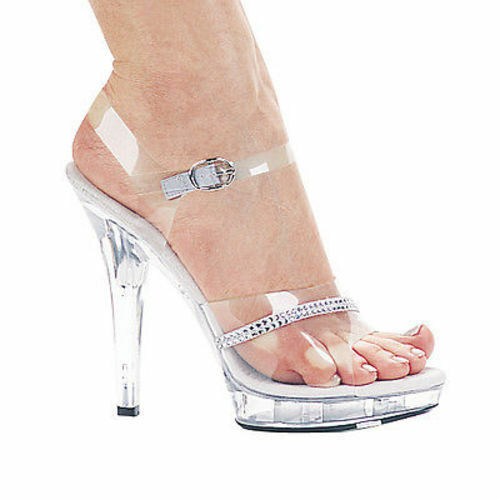 "Ellie M-Jewel Clear Rhinestones Dance Party Fancy Costume 5/"" High Heel Shoes"
