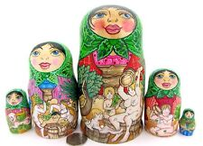 Genuine bambole russe impilabili Matryoshka di colore nudo 5 dolna famiglia Sauna Firmato Regalo