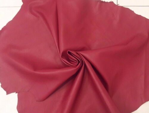 Lambskin Genuine Leather Hide Dark Rose Red Soft Touch 2 oz Beautiful Hides