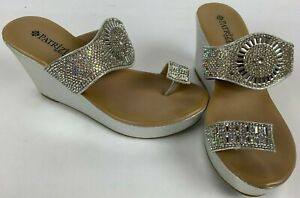 Patrizia-by-Spring-Step-HEENA-Silver-Sparkle-Wedge-Slides-size-7-37