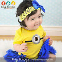Short Sleeves Despicable Me Minions Baby Tutu Bodysuit With Headband