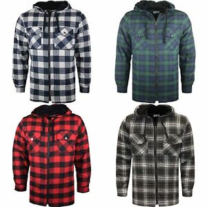 Mens Padded Shirt Quilted Lined Lumberjack Flannel Hooded