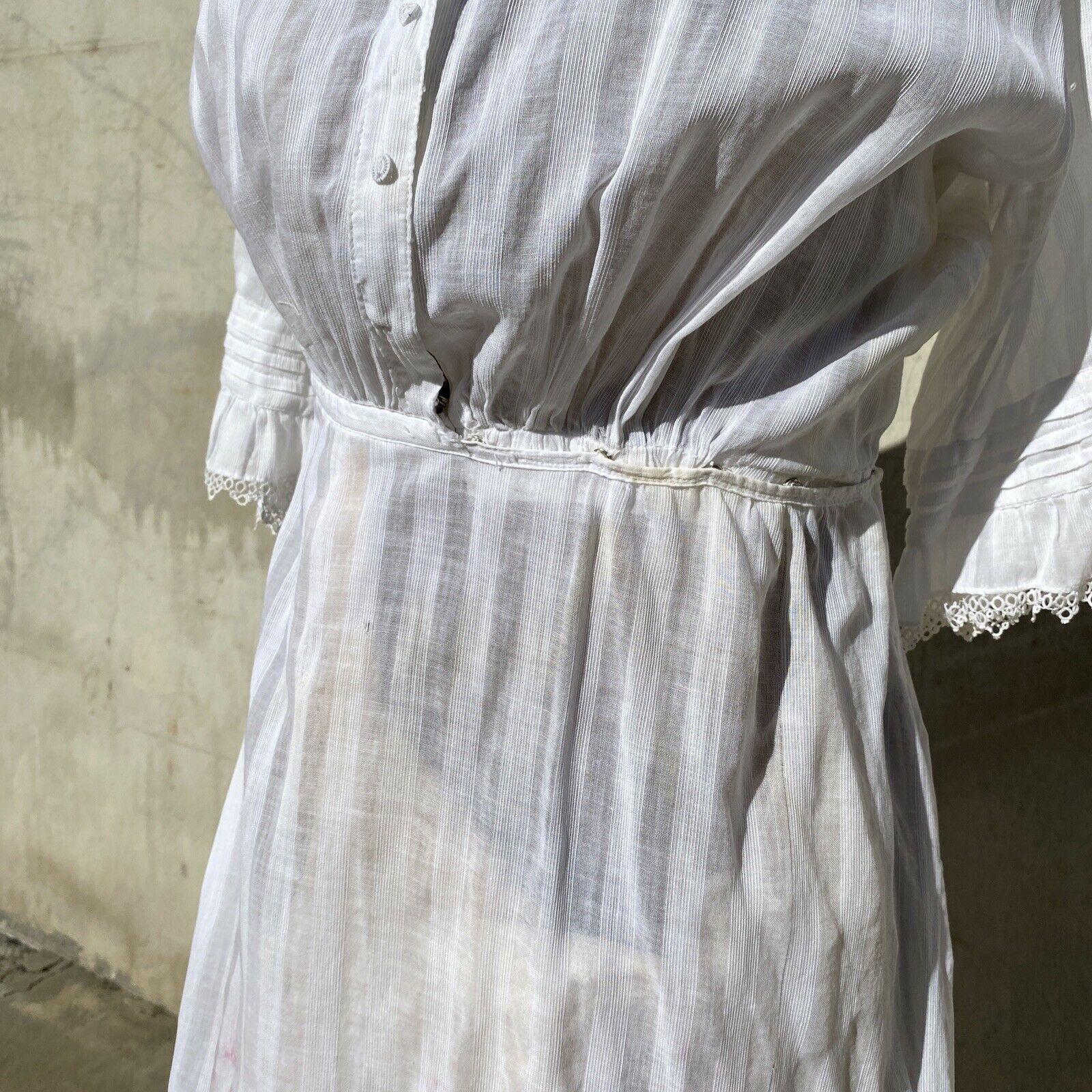 Antique Edwardian White Cotton Tea Dress Maxi Lac… - image 4