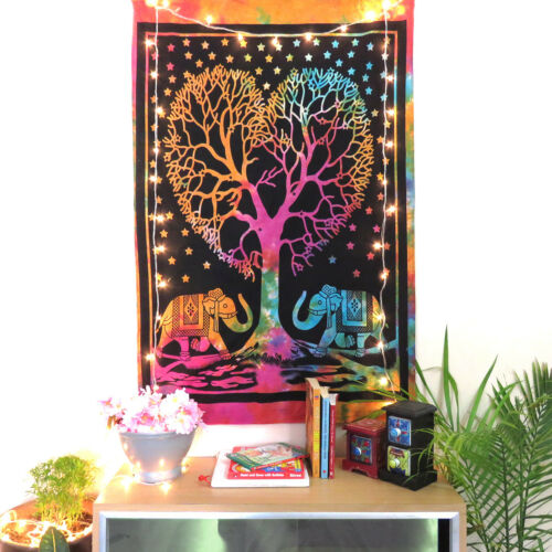 Wall Tapestry Hanging Indian Decor Poster Small Tree Heart Cotton Elephant Throw