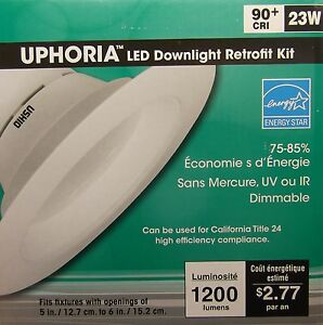 """23W LED fits 5"""" to 6"""" Recessed Downlight Retrofit. Dimmable."""
