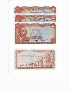 KENYA-NICE-LOT-5-SHILLINGS-1978-4-PCS-ALL-NICE-UNC