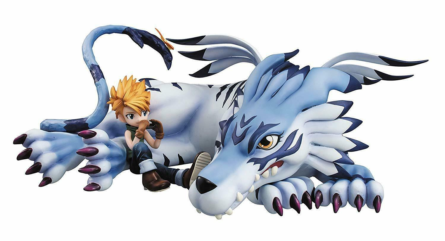 BANDAI Megahouse Digimon Adventure  Garurumon & Yamato Gem Pvc Figura DEC158121