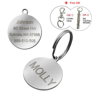 Stainless-Steel-Round-Personalised-Dog-Tags-Disc-Disk-Pet-Cat-Name-ID-Collar-Tag