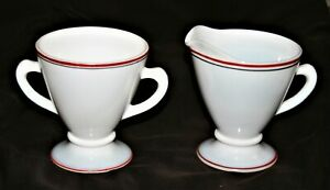 Hazel-Atlas-Glass-Sugar-and-Creamer-Set-Platonite-White-w-Red-and-Black-Band