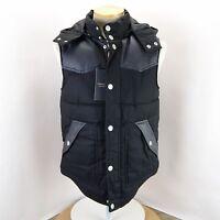 Zara Man Denim Collection Faux Leather Trim Hooded Plaid Puffer Vest M