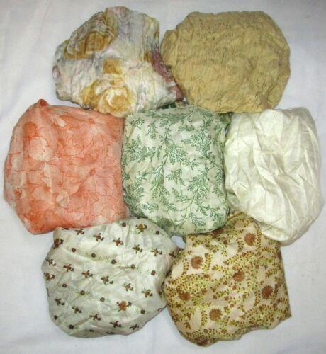 LOT PURE SILK Vintage Sari REMNANT Fabric 7 Pcs 1 ft Cream #ABDBJ