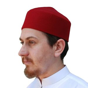 TheKufi Solid Maroon Moroccan Fez-style Kufi Hat Cap With Pointed ... 04ad94a06889