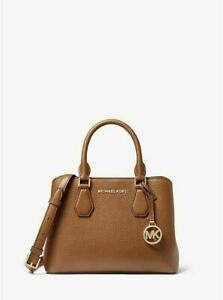 328-MICHAEL-KORS-Women-039-s-Camille-Small-Pebbled-Leather-Satchel-Hand-Bag-Brown