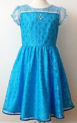 Clothing, Shoes & Accessories Kids' Clothing, Shoes & Accs Girls Blue Lace Short Sleeve Mid Length European Sizes Dress Ages 11-12 Years Exquisite Craftsmanship;