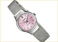 Casio LTP1362D-4A Ladies Pink Mesh Petit Stainless Steel Dress Watch Crystal