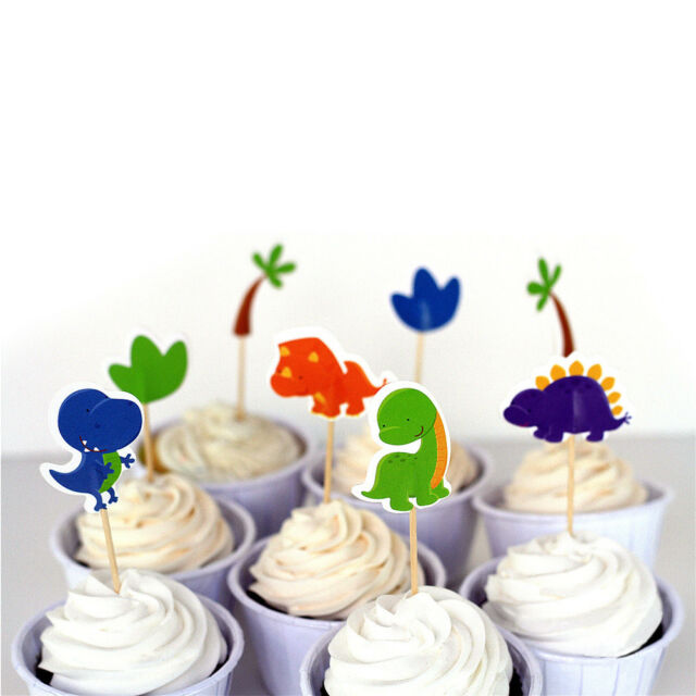 24pcs Dinosaur Party cupcake toppers picks Kids birthday party Supplies WG