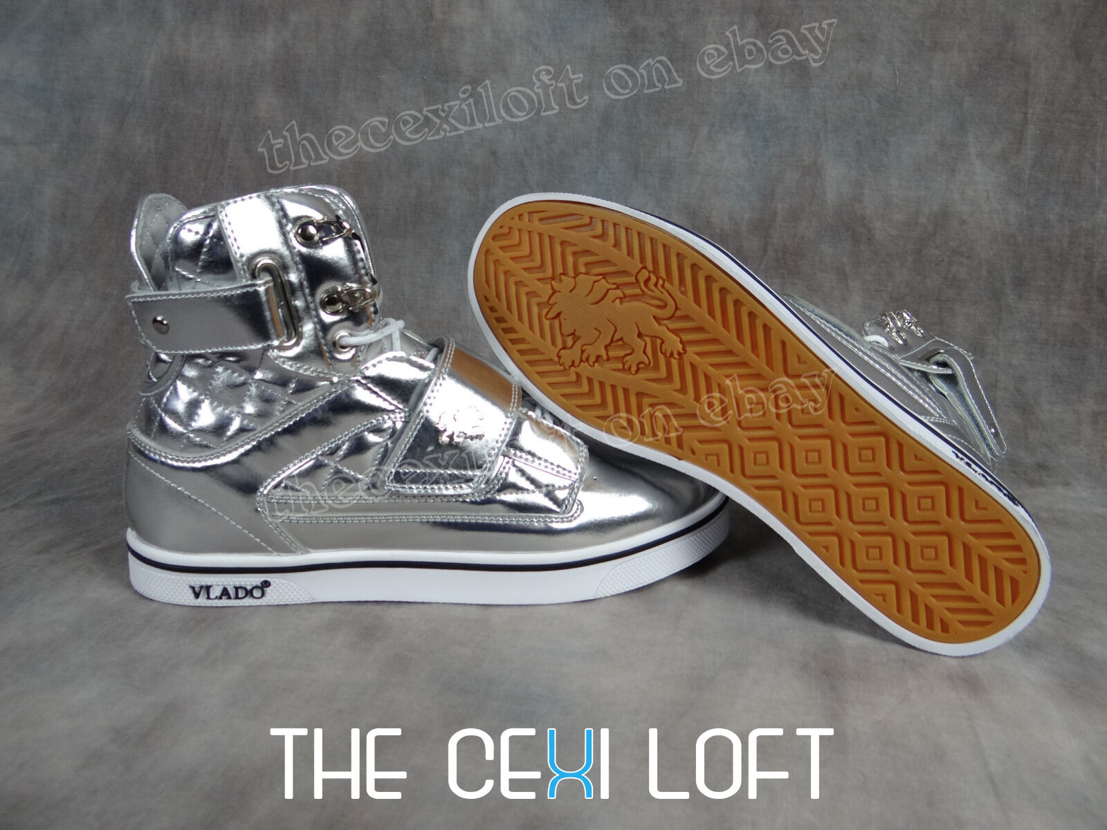 NEW Mens VLADO High Top Shoes ATLAS Shiny METALIC CHROME White Sole *FRESH*