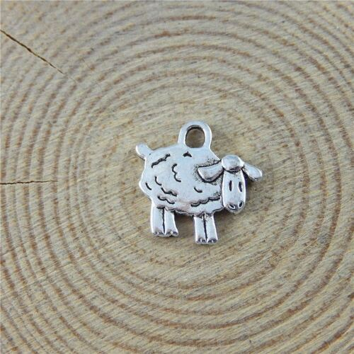 10PCS Vintage Silver Alloy Cute Sheep Charms Pendant Jewelry Findings 15*10*1mm