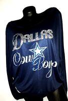 Dallas Cowboys Navy Longsleeve Off The Shoulder Dolman Topcrystal Dallas